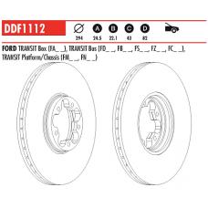Диск тормозной передний Transit 2000-2006 RWD DDF1112