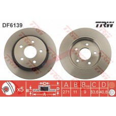 Диск тормозной задний  D=271 мм Focus III 2011- DF6139